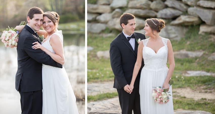 Bride and groom banner elk winery elopement