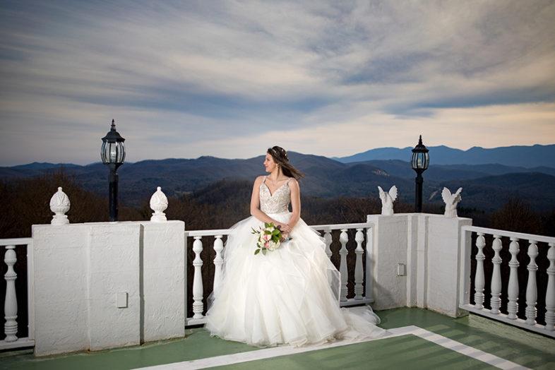 Bridal portraits at Smithmore Castle mountain view