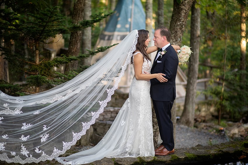 Bride and Groom Eagles Nest wedding Banner Elk NC