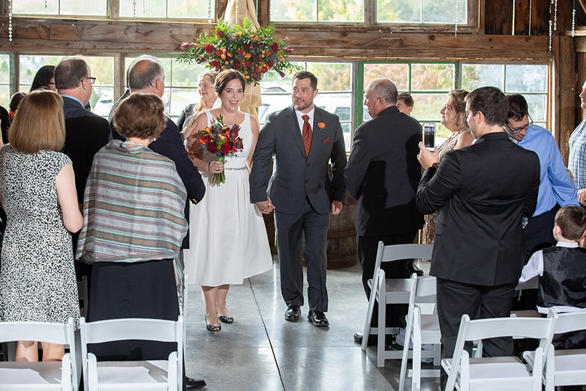Bride and Groom just married at Banner Elk Winery