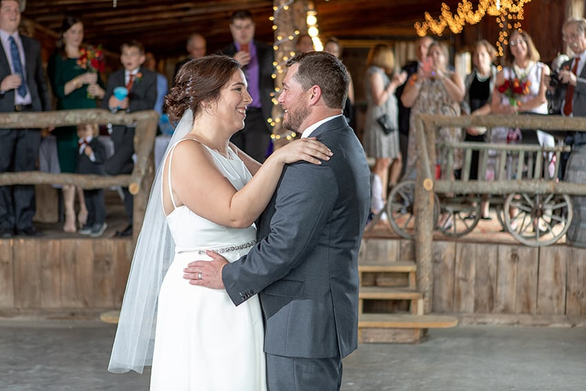 Bride and Groom first dance in Enchanted Barn at Banner Elk Winery
