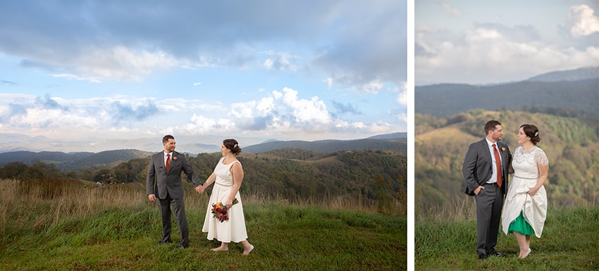 Bride and Groom portraits with mountain view in Banner Elk
