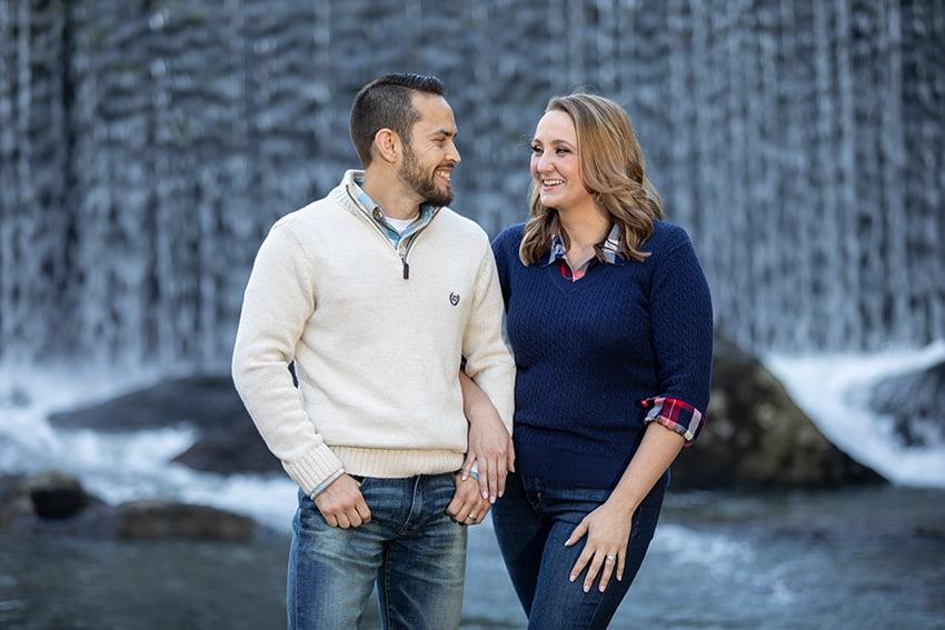couple portraits waterfall banner elk