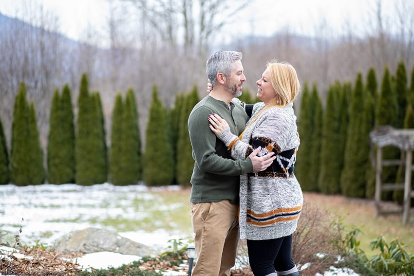 Newly engaged at the Inn at Crestwood in Boone NC