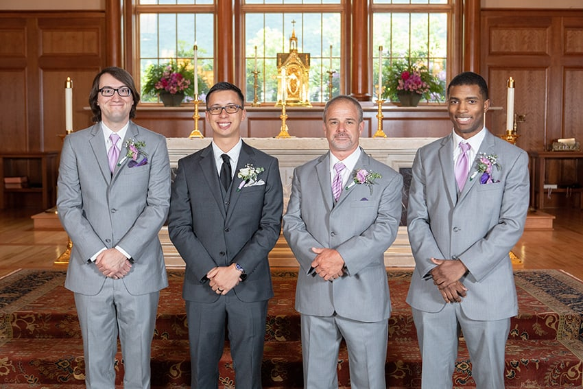 Groom with groomsmen at St. Bernadette Catholic Church in Linville, NC