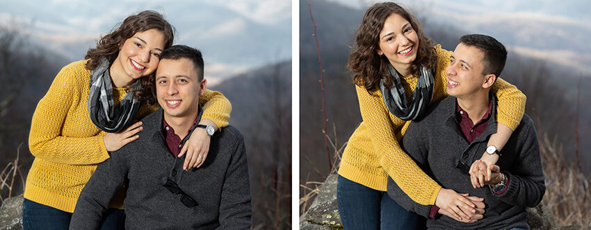 Engagement portrait of couple with mountain views on Roan Mountain