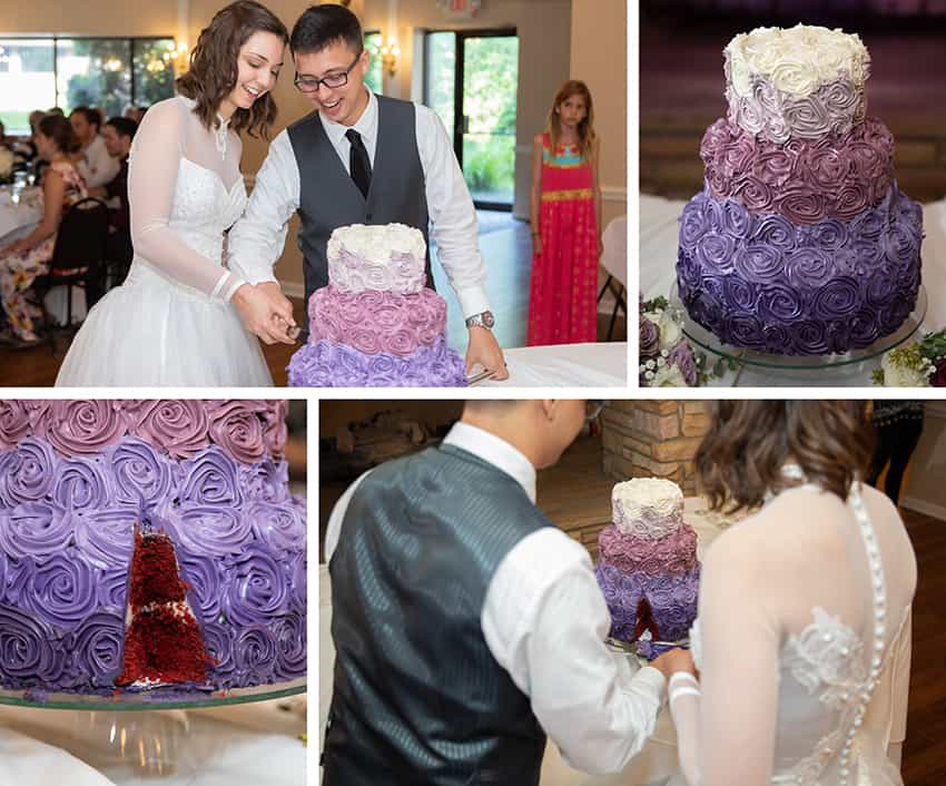 Bride and groom cutting the cake at reception at Meadowbrook Inn in Blowing Rock