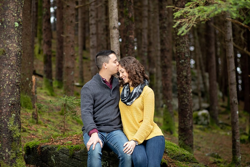 Engagement portrait of couple on Roan Mountain