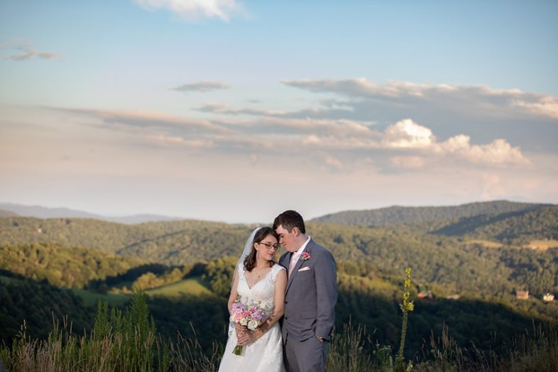 elopement bride and groom at banner elk winery
