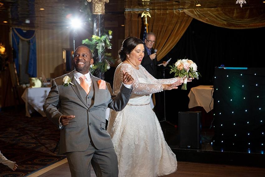 savannah riverboat cruise wedding reception bride and groom