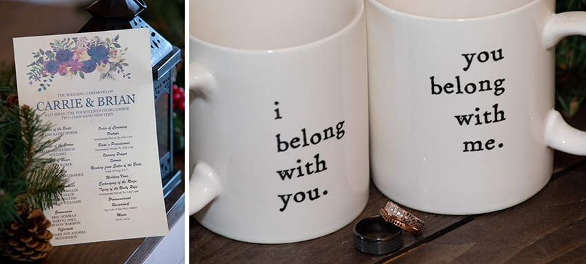 Wedding mugs and rings