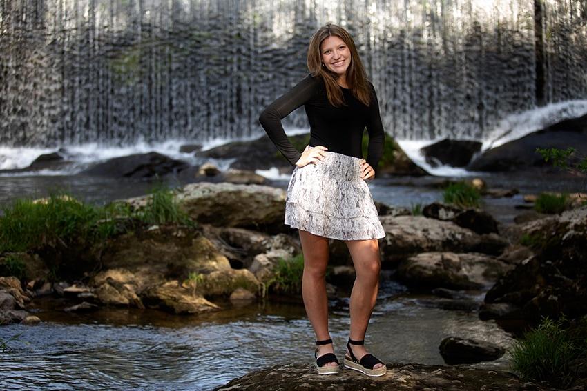 Senior portrait session in Banner Elk waterfall