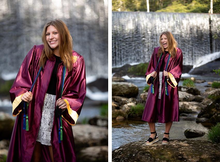 Senior portrait session in Banner Elk waterfall graduation